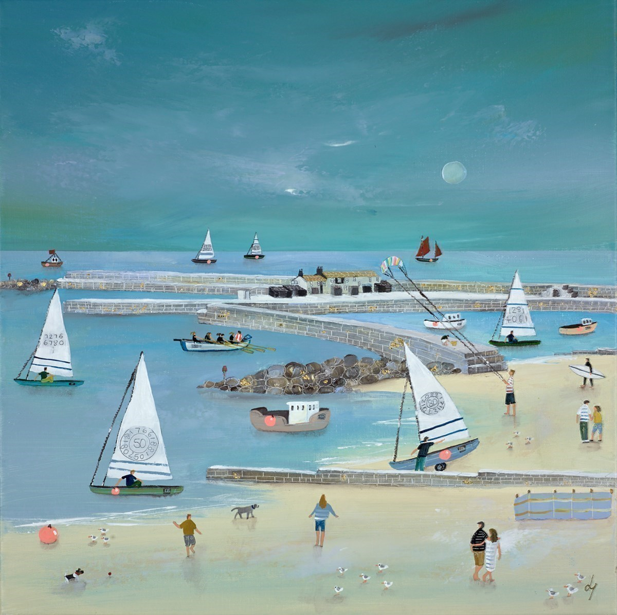 Gigging 'n' Sails by Lucy Young -  sized 20x20 inches. Available from Whitewall Galleries